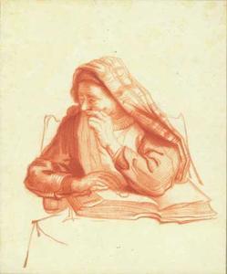 Oude vrouw met een opengeslagen boek