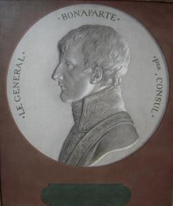 Trompe-l'oeil portret van Napoleon Bonaparte (1769-1824) als eerste consul