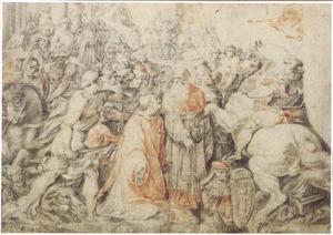 De heilige Laurentius en paus Sixtus II tijdens diens arrestatie wegens trotsering van een edict van keizer Valerianus