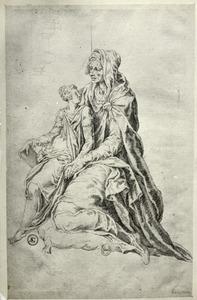 Knielende oudere vrouw, op haar schoot een jonge vrouw met boek