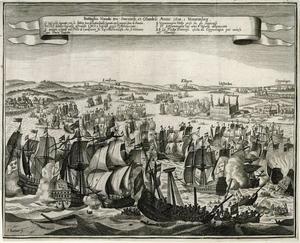 De slag in de Sont tussen Jacob Baron van Wassenaer-Odam voor Holland en Carolus Gustavus Wrangel voor Zweden op 1 (OS) / 8 (NS) november 1658