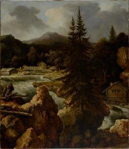 Scandinavisch landschap met waterval en watermolen