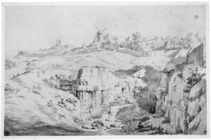 Landschap met steengroeve en molen