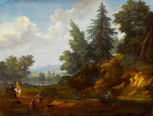 Bebost landschap met ruiters en figuren bij een beek