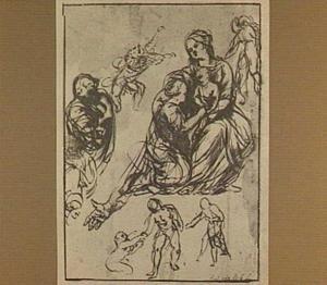 Maria met kind en H. Catharina en andere figuurstudies