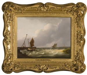Zeegezicht met schepen bij havenhoofd