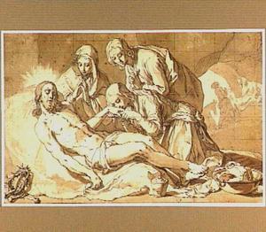 De bewening van Christus (Marcus 15:41), op de achtergrond de graflegging (Johannes 19:38-42)