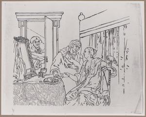 Bordeelscène met koppelaarster en man in een open deur