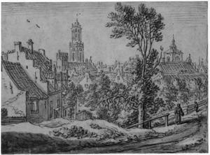 Bergstraat in Utrecht gezien vanaf de stadswal ten noorden van de Catharijnepoort