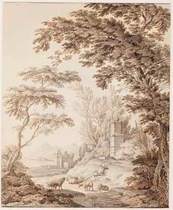 Landschap met een slapende herder en zijn kudde bij een fontein