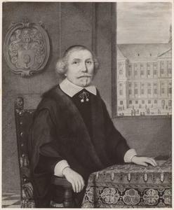Portret van Nicolaes Tulp (1593-1674), met doorkijk naar het stadhuis op de Dam in Amsterdam