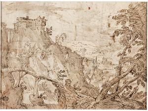 Berglandschap met een houten brug en een kasteel op een berg