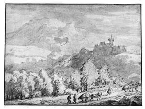Berglandschap met kasteel en twee karren