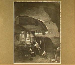 Interieur met vrouw en kinderen