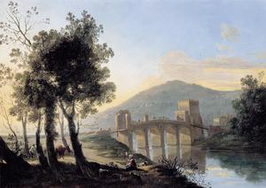 Zuidelijk landschap met de Ponte Molle (Milvio) buiten Rome