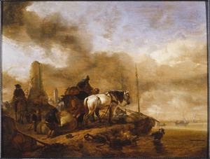 Boeren lossen een wagen op het strand