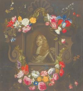 Portret van een man in harnas, in een cartouche versierd met bloemenguirlandes