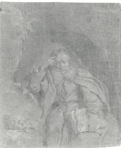 Heremiet in een grot met een boek in de hand