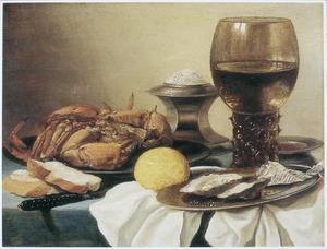 Stilleven met roemer, zoutvat, tinnen schotels, krab, citroen en twee plakjes brood