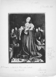 Maria met kind aan de borst in een apsis met musicerende engelen
