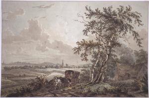 Landschap met reizigers in een koets in het Gooi bij Hilversum