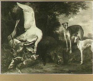 Twee honden bij jachtstilleven met hert, zwaan, vos en everzwijn