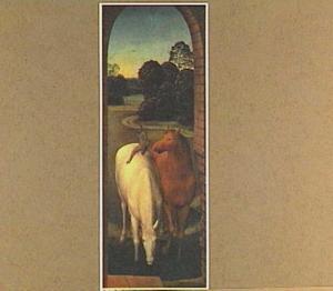 Twee paarden in een landschap (allegorie van de waarachtige liefde)