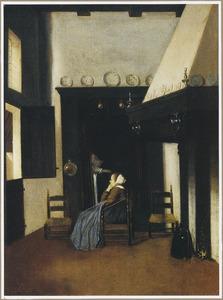 Een interieur met een jonge vrouw, zittend bij een oude vrouw in een bedstee