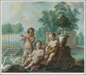 Musicerende putti in een parklandschap: allegorie op de zomer
