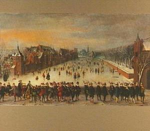 De Hofvijver in de winter gezien vanaf de Korte Vijverberg, met op de voorgrond de prinsen Maurits en Frederik Hendrik met gevolg
