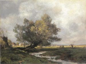 Gezicht op een rivierlandschap