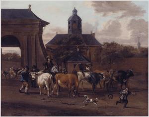 Muiderpoort, Weesperpoort of  Utrechtsepoort te Amsterdam; gezien van buiten de stad