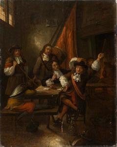 Drinkende en rokende soldaten in een interieur