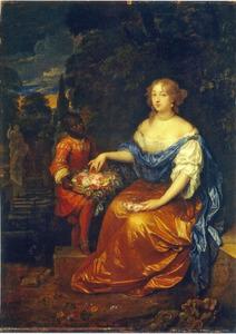 Portret van een onbekende vrouw, met een bediende