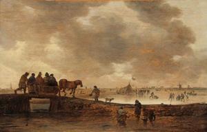 Winterlandschap met paardenslee; de stad Leiden in de achtergrond