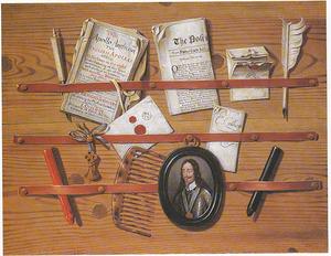 Trompe-l'oeil met een portretminiatuur van koning Karel I van Engeland (1600-1649)