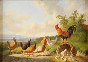 Landschap met kippen, haan en kuikens