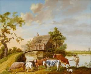 Een herder met koeien op een pad langs een vaart