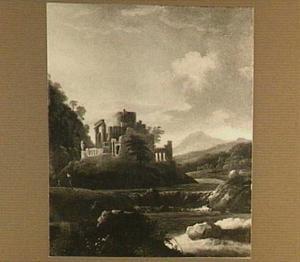 Landschap met waterval en ruïne