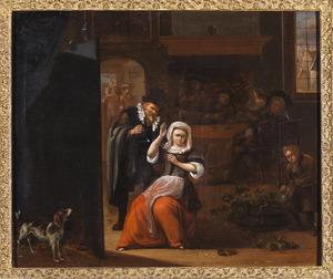 Interieur met een man die een jonge vrouw het hof maakt, met een drinkend gezelschap in de achtergrond