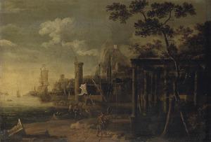 Capriccio van een haven met oorlogsschepen, een antieke ruïne op de voorgrond