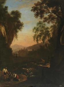 Berglandschap bij zonsondergang met waterval en vissers
