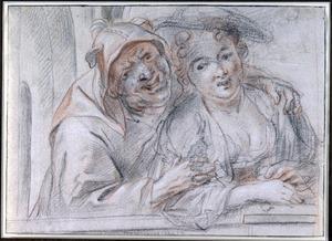 Jonge vrouw en een nar in een venster: ongelijke liefde