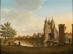 Gezicht op de Amsterdamse Poort te Haarlem