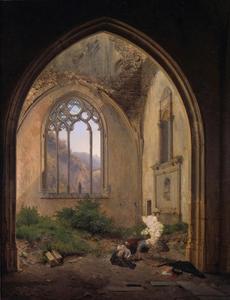Scène in een kapel in een ruïne