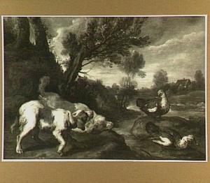 Twee honden bedreigen twee eenden in een landschap