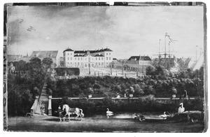 Het paleis van Ulrik Frederik Gyldenløve (thans Slot Charlottenborg) te Kopenhagen, gezien vanaf de paardenstallen