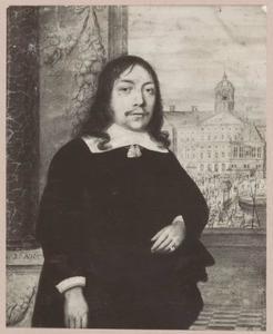 Portret van Jan Wijs (1631-1670), met doorkijk naar het stadhuis op de Dam in Amsterdam
