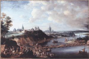 Het Staatse leger trekt over een rivier nabij Arnhem
