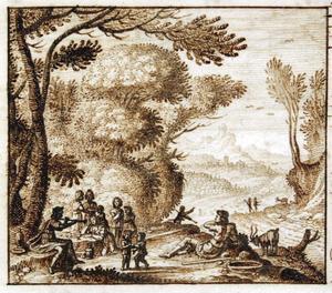 Boslandschap met herders